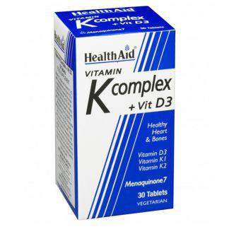 Vitamina K Complex + Vitamina D3 Health Aid - 30 comprimidos