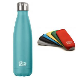 Botella de Acero Inoxidable con Funda de Neopreno Bbo Irisana Turquesa - 500 ml.