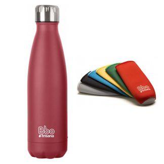 Botella de Acero Inoxidable con Funda de Neopreno Bbo Irisana Roja - 500 ml.