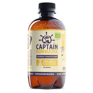 Bebida Kombucha Piña y Melocotón Bio Captain Kombucha - 400 ml.