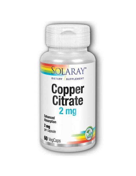 Cobre Citrato 2 mg. Solaray - 60 cápsulas