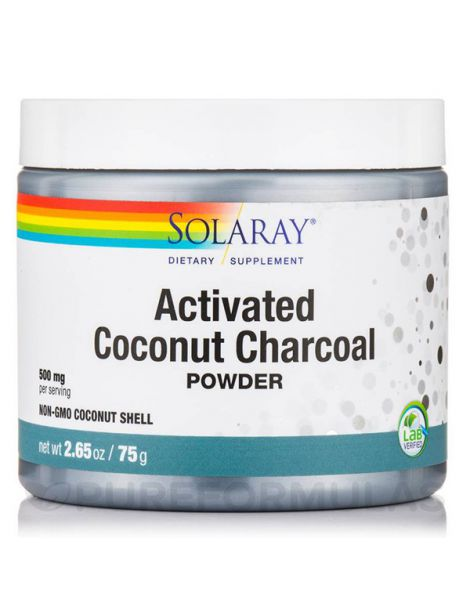 Charcoal Coconut Activated (Carbón Activo) Solaray - 150 gramos
