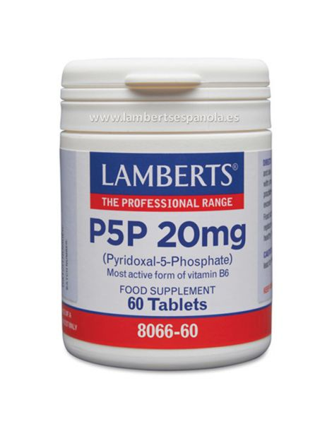 P5P (Piridoxal-5-Fosfato) 20 mg. Lamberts - 60 tabletas