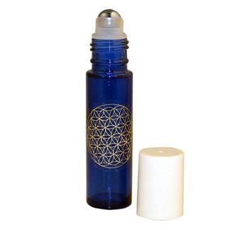 Frasco Roll-on Vidrio Azul Cobalto con Flor de la Vida - 12 ml.