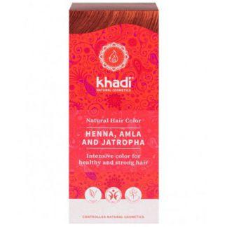 Henna, Amla y Jatropha Red Khadi - 100 gramos
