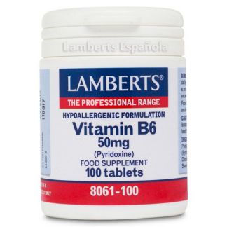 Vitamina B6 (Piridoxina) 50 mg. Lamberts - 100 tabletas