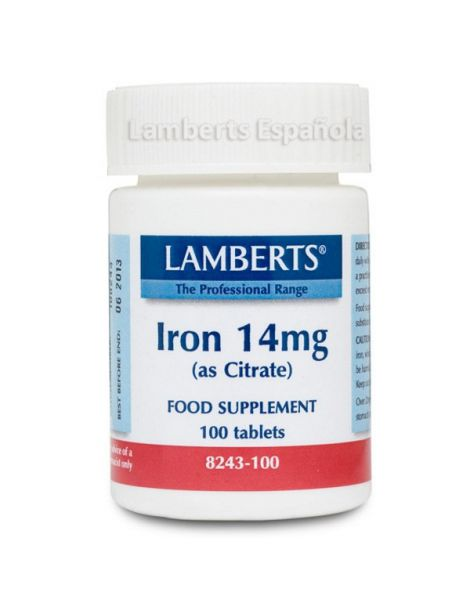 Hierro 14 mg. Lamberts - 100 tabletas