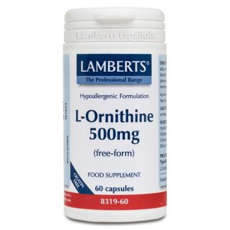 L-Ornitina 500 mg. Lamberts - 60 cápsulas