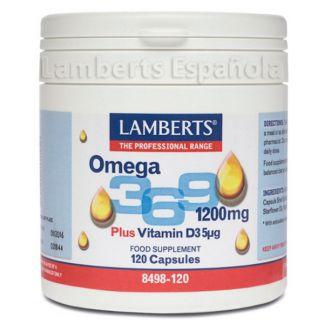 Omega 3, 6, 9 1200 mg. + Vitamina D3 5 mcg. Lamberts - 120 cápsulas