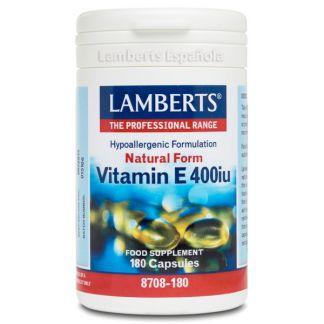 Vitamina E Natural 400 UI Lamberts - 180 cápsulas