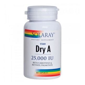 Vitamina A Emulsied Dry 25.000 UI Solaray - 60 cápsulas
