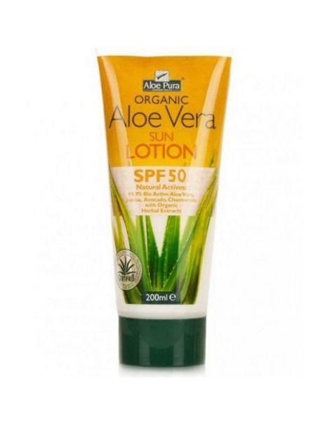 Loción Solar de Aloe Vera Factor 50 Optima - 200 ml.