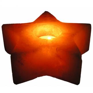 Portavelas de Sal Pulido Forma Estrella