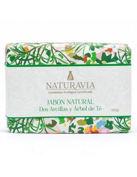 Jabón Dos Arcillas y Árbol de Té Naturavia - 100 gramos