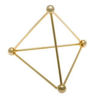Tetraedro de Metal Dorado