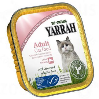 Tarrina para Gatos con Salmón y Gambas Bio Yarrah - 100 gramos