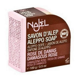 Jabón de Alepo con Rosa de Damasco Najel - pastilla de 100 gramos