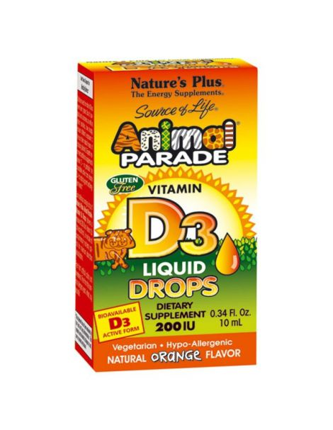 Animal Parade Vitamina D3 Gotas Nature's Plus - 10 ml.