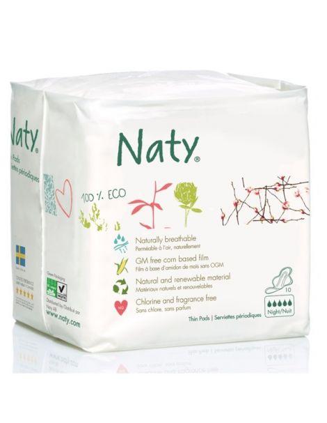 Compresa de Noche con Alas Naty - 10 unidades