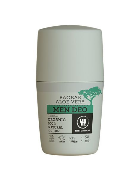 Desodorante Roll-on Vera y Baobab Men Urtekram - 50 ml.