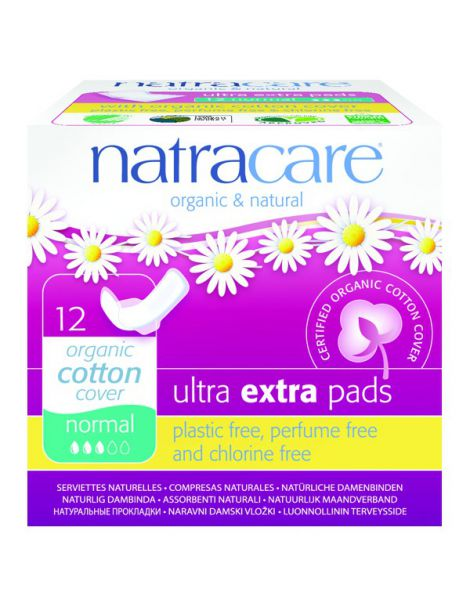 Compresa Ultra Extra Normal con Alas Natracare - 12 unidades
