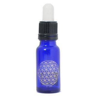 Frasco Cuentagotas Vidrio Azul Cobalto con Flor de la Vida - 15 ml.
