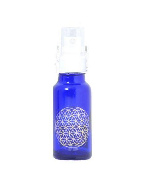 Frasco Vaporizador Vidrio Azul Cobalto con Flor de la Vida - 50 ml.