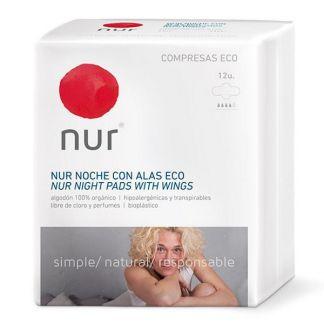 Compresa Ultrafina de Noche con Alas Nur - 12 unidades