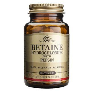 Betaína Clorhidrato con Pepsina Solgar - 100 comprimidos