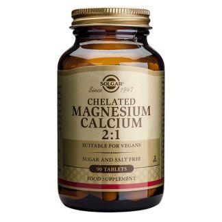 Magnesio - Calcio Quelado 2:1 Solgar - 90 comprimidos