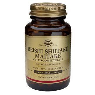 Reishi Shiitake Maitake Solgar - 50 cápsulas