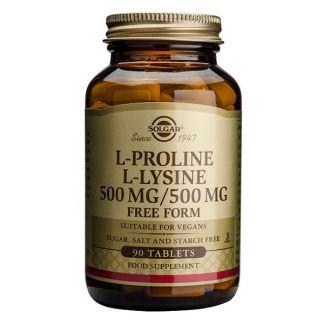 L-Prolina / L-Lisina Solgar - 90 comprimidos
