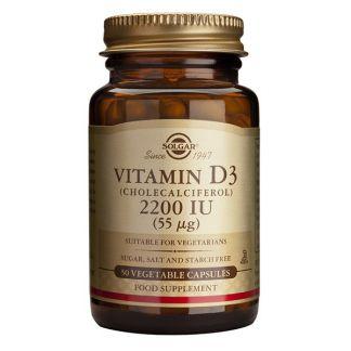 Vitamina D3 55 mcg. (2200 UI) Solgar - 50 cápsulas