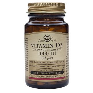 Vitamina D3 25 mcg. (1000 UI) Solgar - 100 comprimidos
