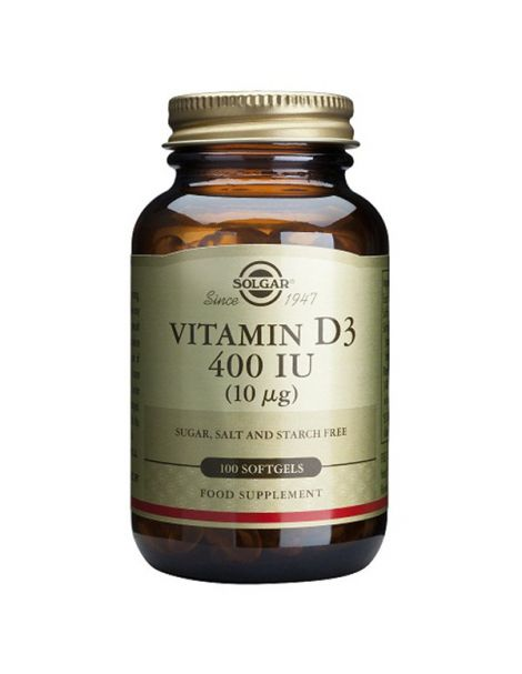 Vitamina D3 10 mcg. (400 UI) Solgar - 100 perlas