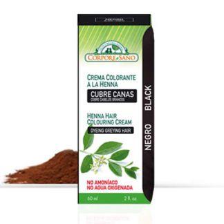 Crema Colorante Henna Negro Corpore Sano - 60 ml.