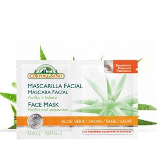 Mascarilla Facial Aloe Vera y Salvia Corpore Sano - 24 sobres