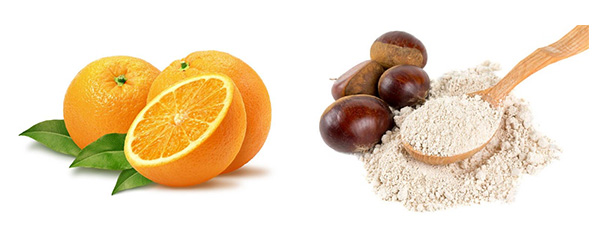 ingredientes para el bizcocho de naranja y harina de castañas