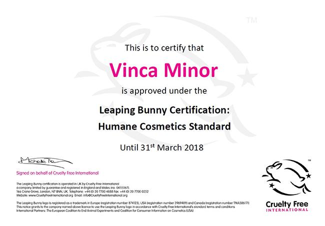certificado cruelty free de vinca minor